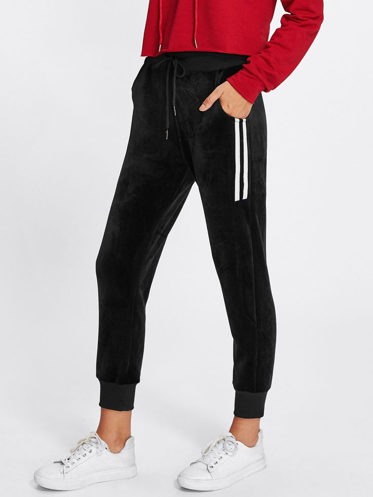 Contrast Striped Tape Drawstring Waist Pants