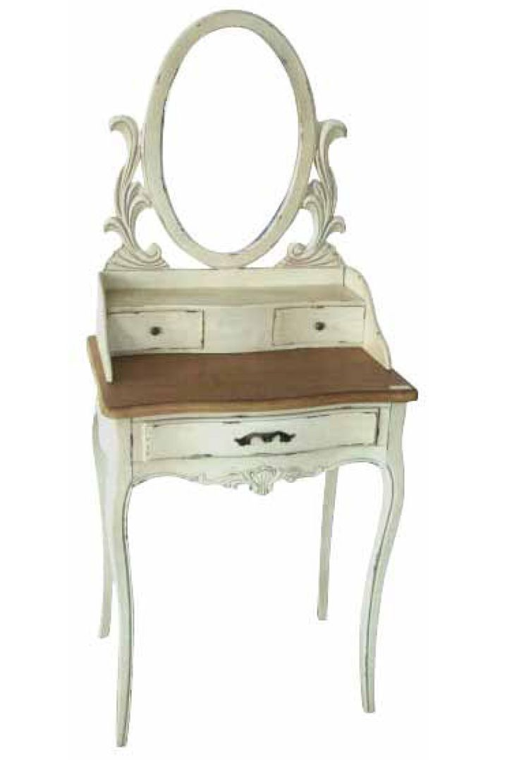 Furniture Bedroom Oval Mirrored White Stained Dressing Table With Varnished Wooden Counter Top Antique Makeup Vanity