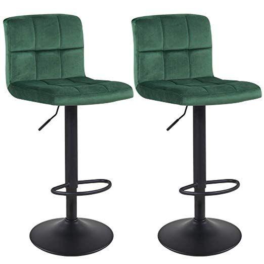 duhome bar stools set of 2 green velvet swivel barstools