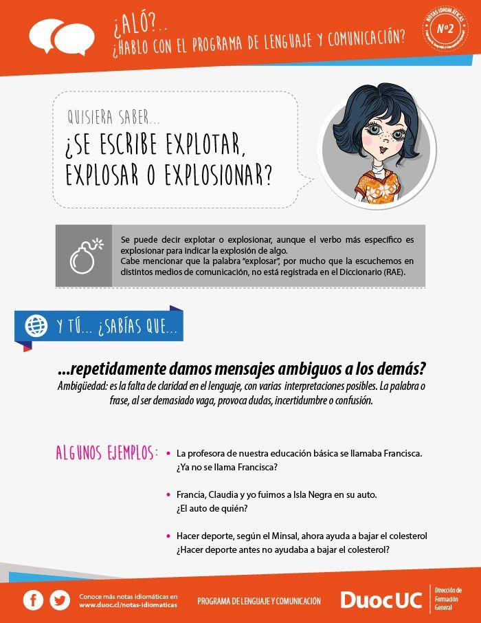 ¿Se escribe explotar, explosar o explosionar? - Breves Notas Idiomáticas | Duoc UC