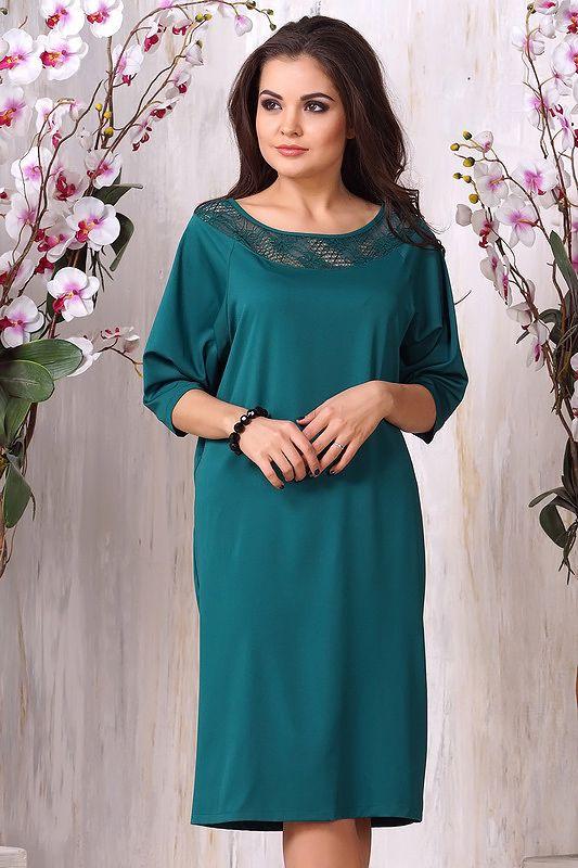Платье 912. Зеленый. Гипюр