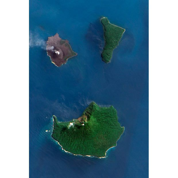 """Krakatoa from space. Krakatoa Rebuilding, Eruptions at the volcano since 1927 have built a new island in the same location, named Anak Krakatau (which is Indonesian for """"Child of Krakatoa""""). This island currently has a radius of roughly 2 kilometres (1.2 mi) and a high point of around 324 metres (1,063 ft) above sea level,[6] growing 5 metres (16 ft) each year."""