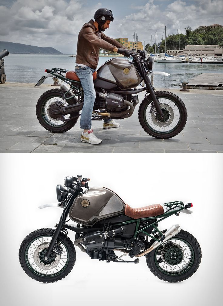 In order for this bike to please the eye Officine Sbrannetti took off the original seat and switched to a new leather one, aluminum fenders and wrapped the tank in a handmade leather belt. The exhaust system was replaced, a luggage rack was built on the back, and heavy threaded were fitted...