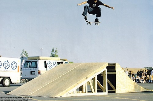 Heath Kirchart, we had a fun session at Bogert during this tour. I manualed across the van once. fun launch ramp