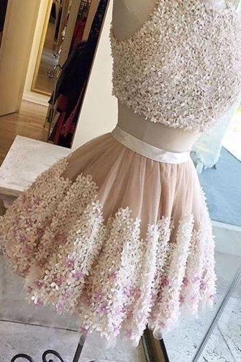Cute 2 pieces lace appliques short prom dress, party dress