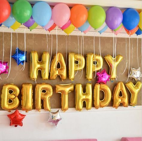 "Decorate your special day with our NEW Gold Foil Balloons! Details below! 13 pieces ""HAPPY BIRTHDAY"" 16"" Gold Foil Balloon Balloons need to be fastened to exist"
