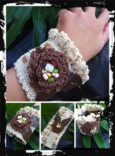 Crochet combine with leather bracelet by handmadebyputu on Etsy, $48.00