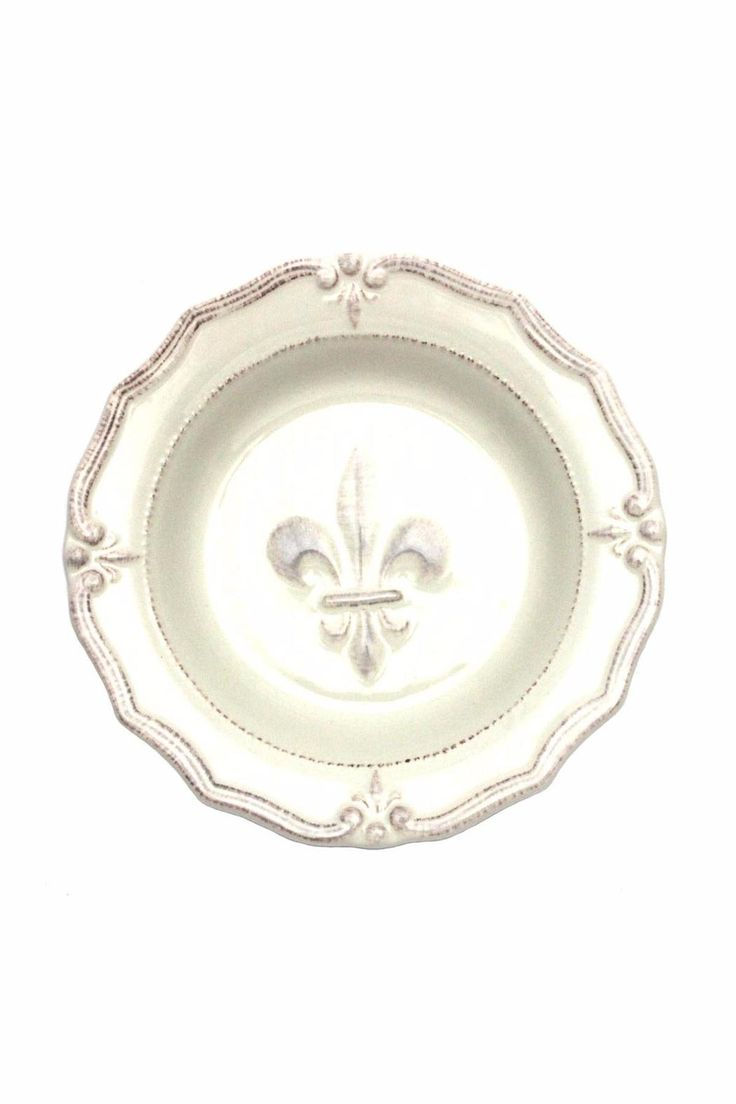 """Ceramic 9"""" diameter X 1.75"""" depth Raised design. Ceranima Home is a product development company that designs and manufactures product lines and collections for casual entertaining everyday, year round and special occasions.   Fleur De Lis Soup Bowl by Ceranima. Home & Gifts - Home Decor - Dining - Dinnerware Alabama"""