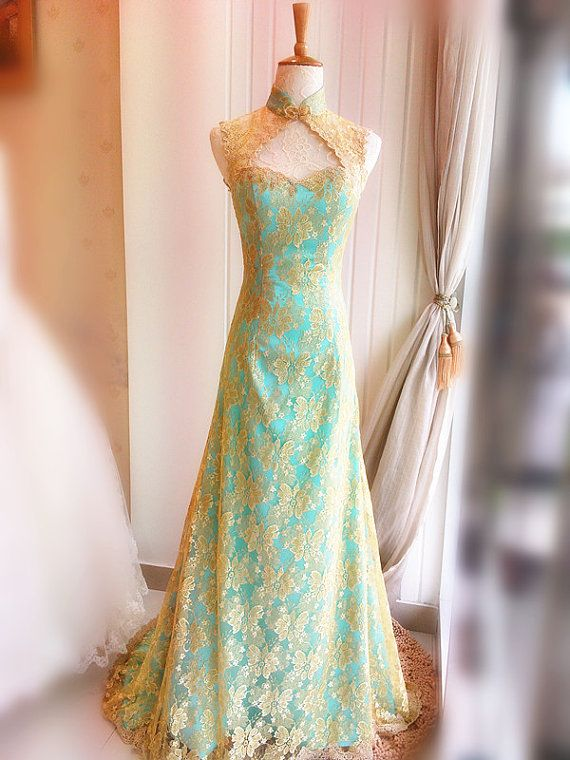 Pretty gold and teal lace - especially like the neckline and shoulders