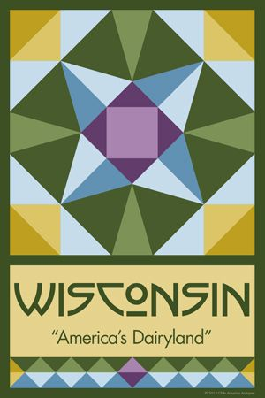 Olde America Antiques   Quilt Blocks   National Parks   Bozeman Montana : 50 STATE QUILT BLOCK SERIES - WISCONSIN
