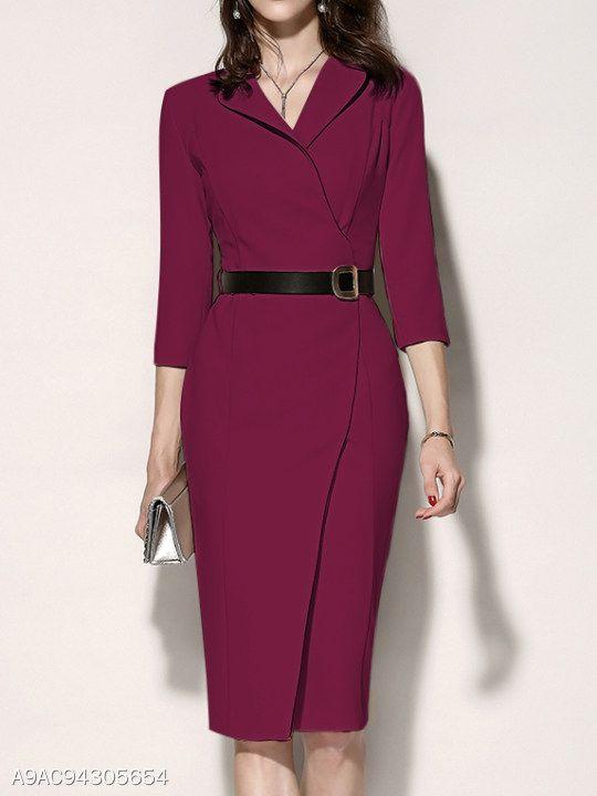 b561edd102 Fold-Over Collar Plain Bodycon Dress - berrylook.com