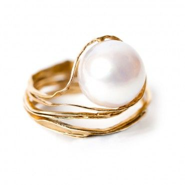 Pearl engagement ring - South sea Australian pearl gold ring - 18k yellow gold…