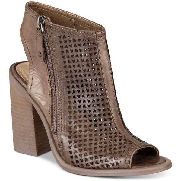 Kelsi Dagger Brooklyn Mason Perforated Block-Heel Sandals ($71) ❤ liked on Polyvore featuring shoes, sandals, portobello, zip shoes, block heel shoes, perforated shoes, zipper sandals and zipper shoes