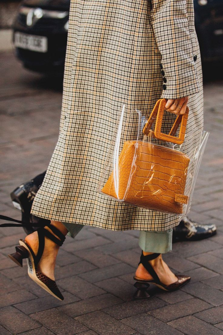Clear bag, whimsical heels, check coat