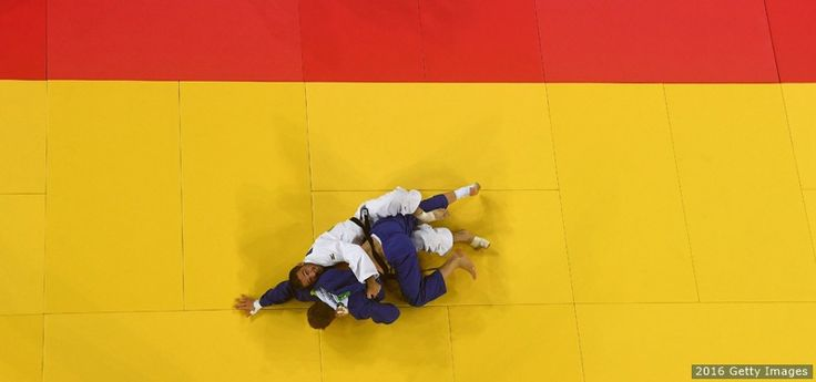 Travis Stevens and Robin Pacek of Sweden compete in the men's 81 kg. bout at the Rio 2016 Olympic Games at the Carioca Arena 2 on Aug. 9, 2016 in Rio de Janeiro.