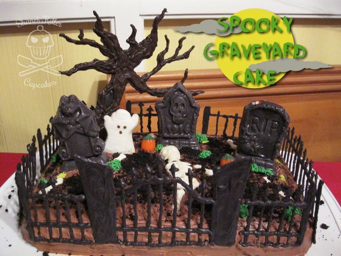 spooky graveyard cake from shaneskillercupcakescom birthday cakebirthday ideashalloween - Easy To Make Halloween Cakes
