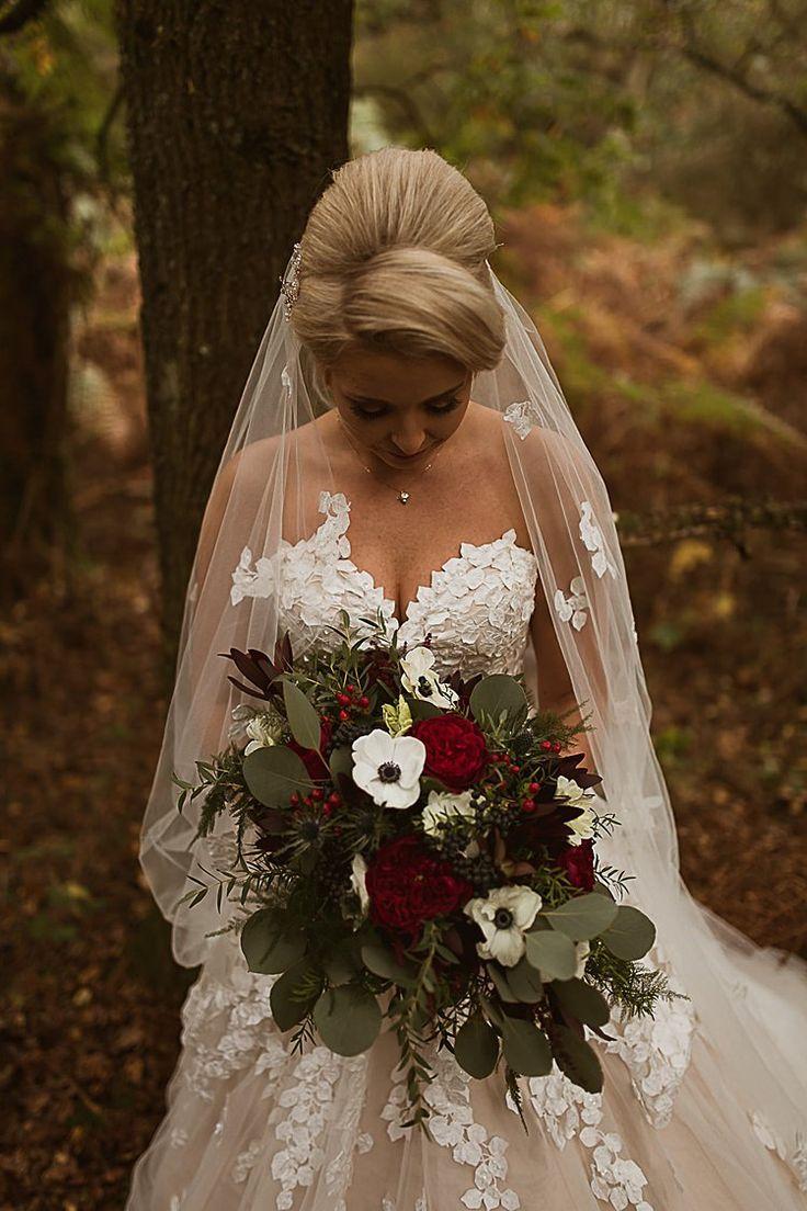 Beautiful Vibrant Dark Red Autumn Wedding Winter Wedding