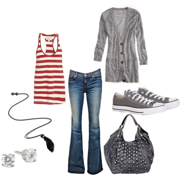 Cute casual.: Cardigans, Shoes, Outfits, Red Stripes, Clothing, Jeans, Casual Looks, Tanks, My Style