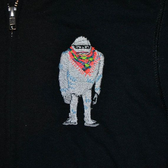 Yeti in a Neon Scarf and Glasses Embroidered Juniors Hoodie by 21CannonSalute