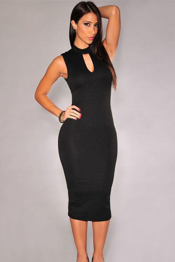 Black Cut-out Back Mock Neck Midi Dress