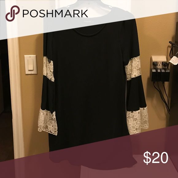 Black tunic with lace sleeves Very pretty black tunic with lace sleeves, NWOT. Reborn Tops Tunics