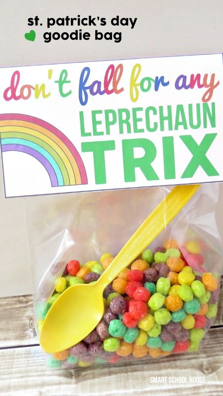 Don't fall for any Leprechaun Trix ~ A free St. Patrick's Day goodie bag printable