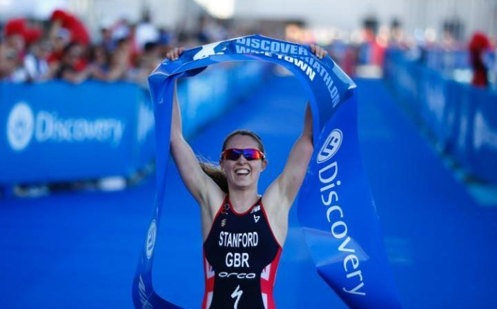 Non Stanford from Great Britain wins the ITU Elite Women's Olympic distance World Triathlon series race in Cape Town, South Africa. This is a qualifying event for the Rio Olympics in the ITU World Triathlon calendar