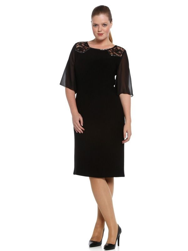 Nidya Moda - Nidya Moda Büyük Beden Krep Elbise İşli-4066S