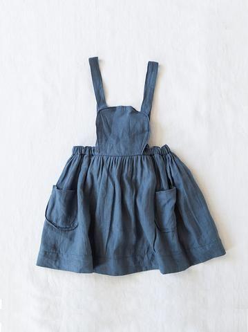 Yoli and Otis Marta Apron Dress | Herbal Plant Dyed Organic Cotton – Salt Living or online at www.saltliving.com.au #saltliving #yoliandotis #organic #childrenswear