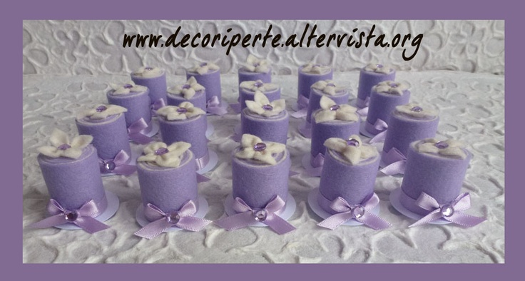 Lilac FELT mini wedding cake with lilac flower and crystals