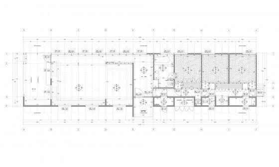 Plano de casa de campo rectangular acotada
