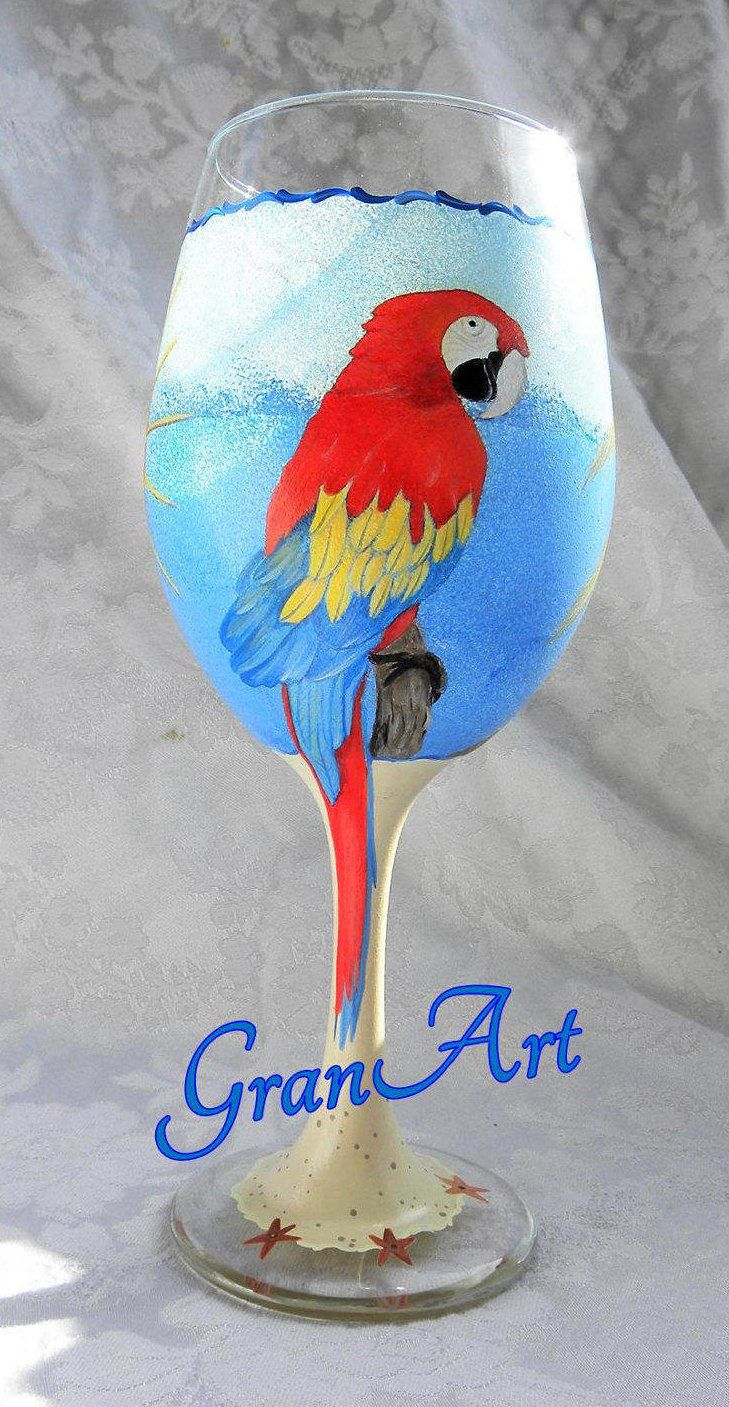 Parrot Wine Glass, Macaw Glass, Tropical Wine Glass, Ocean Wine Glass, Palm Tree Wine Glass, Hand Painted Wine Glass, Painted Wine Glass by GranArt on Etsy
