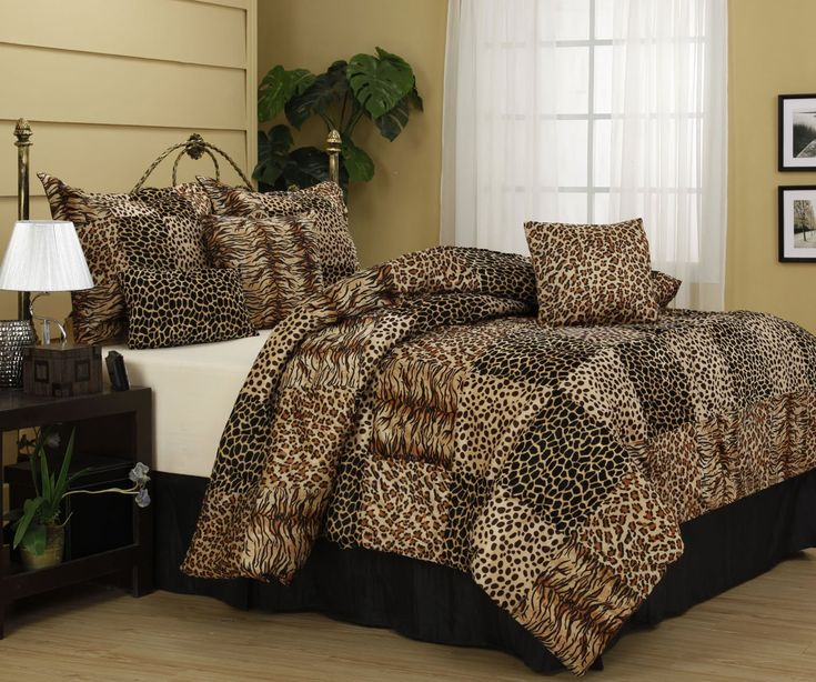 Cheetah and Leopard Print Nanshing Cameroon Plush Comforter Set