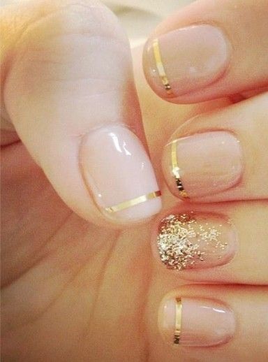 gold accented nails