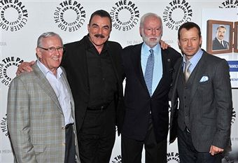 September 22, 2010 Len Cariou, actor Tom Selleck, Leonard Goldberg and actor Donnie Wahlberg attend the 'Blue Bloods' Screening at The Paley Center for Media in New York City.