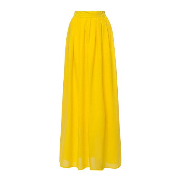 SheIn(sheinside) Yellow High Waist Maxi Skirt (£12) ❤ liked on Polyvore featuring skirts, yellow, bottoms, shein, chiffon skirt, long chiffon maxi skirt, chiffon maxi skirt, high-waisted skirts and flared maxi skirt
