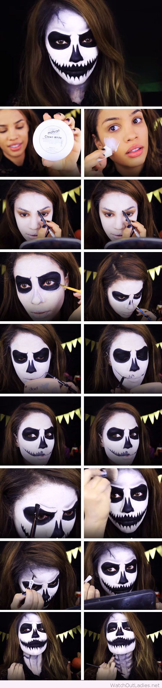 White and black makeup for Halloween