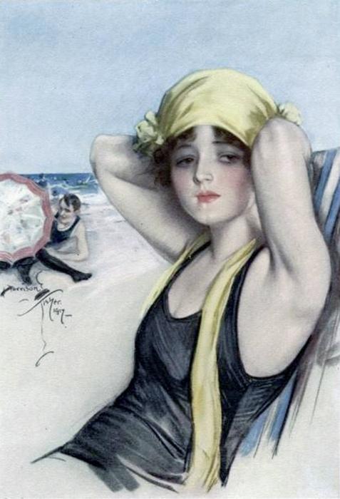 """Midsummer Reverie"" published in Cosmopolitan magazine, 1917. Illustration by Harrison Fisher."