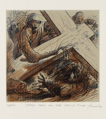 Title: The Stations of the Cross VIII. Jesus Falls for the Second Time Artist: Peter Howson Year: 2004 Medium: Etching with chine colle Dimensions: 44 x 42.5 cm  Location: http://www.flowersgallery.com/works/view/14025-the-stations-of-the-cross-viii-jesus-falls-for-the-second-time