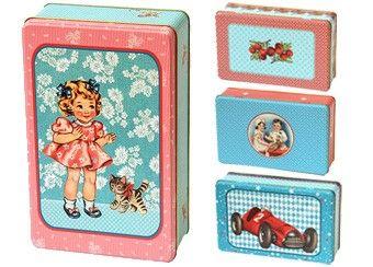 vintage blikken doos met matte folie (large) froy & dind | kinderen-shop Kleine Zebra