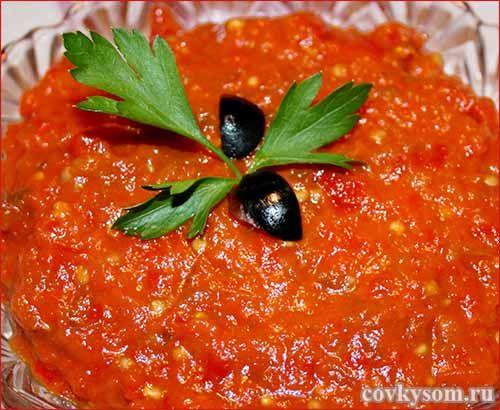 Икра из сладкого болгарского перца на зиму. Несложная и вкусная заготовка.