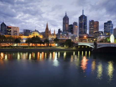 ...Australia, Victoria, Melbourne; Yarra River and City Skyline by Night
