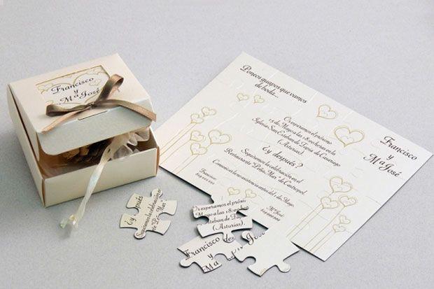 Invitación de boda caja con puzzle