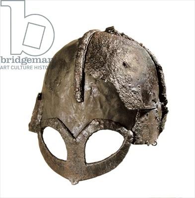 Credit: Gjermundbu Viking Helmet (metallic), Viking, (10th century) / Universitetets Oldsamksamling, University of Oslo, Norway / Photo © AISA / The Bridgeman Art Library