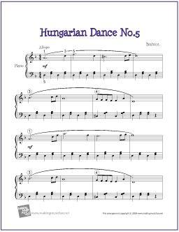 Hungarian Dance No. 5 (Brahms) | Free Sheet Music for Piano - http://makingmusicfun.net/htm/f_printit_free_printable_sheet_music/hungarian-dance-five-piano-solo.htm