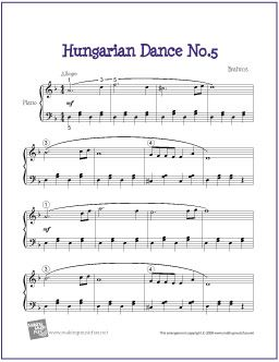 Hungarian Dance No. 5 (Brahms) | Free Sheet Music for Piano - http://makingmusicfun.net/htm/f_printit_free_printable_sheet_music/hungarian-dance-five-piano-solo.htm