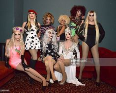 Alaska 5000, Manila Luzon, Bianca Del Rio, Sharon Needles, Raja, Ivy Winters, Phi Phi O'Hara and Adore Delano attend 'RuPaul's Drag Race' Battle Of The Seasons 'Condragulations' Tour LA Event at The Belasco Theater on February 4, 2015 in Los Angeles, California.
