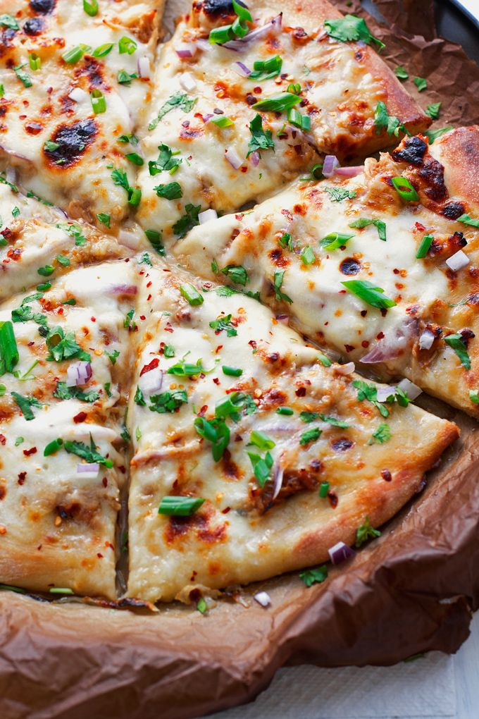 Korean BBQ Chicken Pizza in 30 minutes or less! | Littlespicejar.com #pizza #koreanbbq #bbqchickenpizza