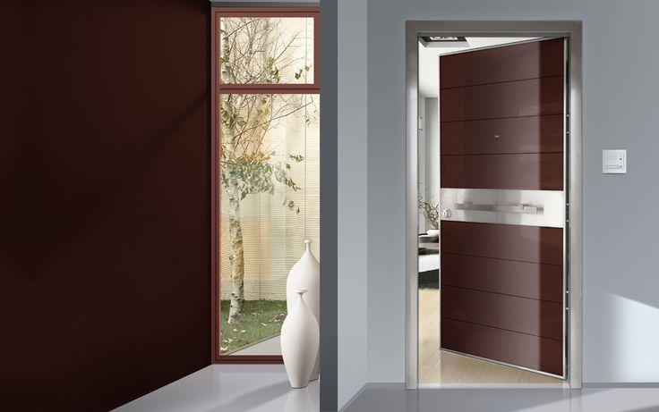 ΠΟΡΤΕΣ ΑΣΦΑΛΕΙΑΣ Golden Door :: Νέο Design :: Πόρτα ασφαλείας με επένδυση από καφέ security τζάμι και inox