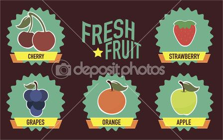 Vintage friss gyümölcs Címkék — Stock Illusztráció #46254801
